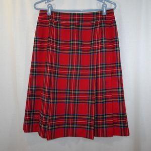 BROOKS BROTHERS 346 Red Plaid Wool Pleated Skirt